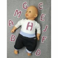 """Aufnäher Buchstaben """"ABC-Alphabet"""" Waffelpique altrosa Bild 2"""