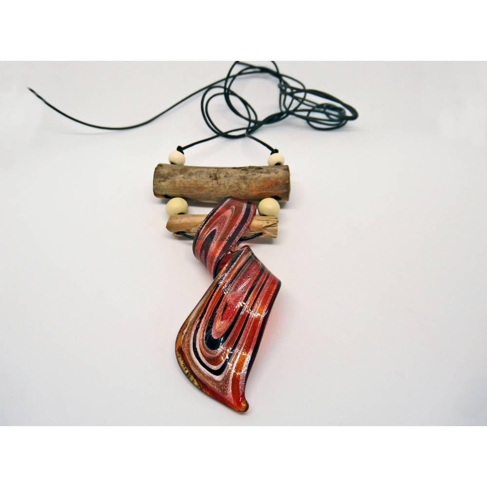 Anhänger, Halskette, Kettenanhänger, Treibholz und Glas, Lederband, großer Anhänger, nachhaltig, martim Bild 1