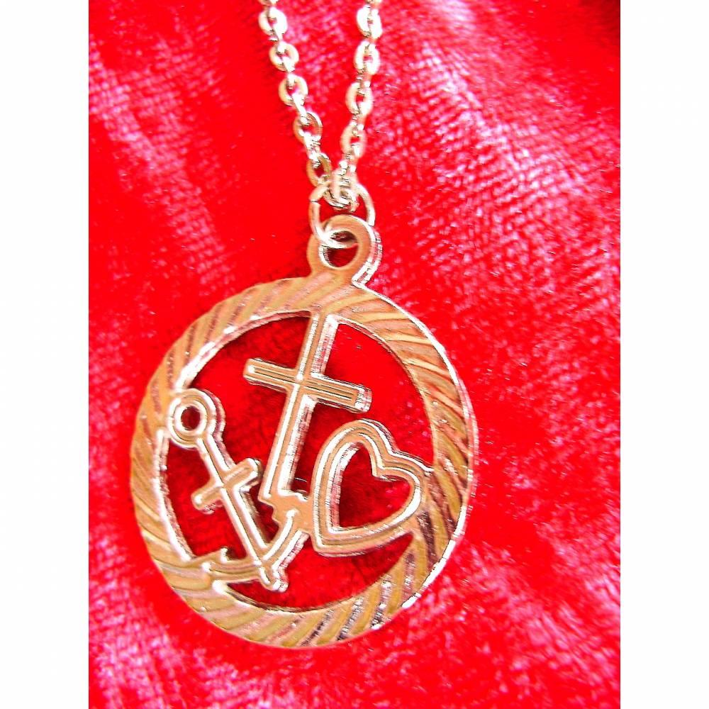 Vintage♥Halskette♥Glaube, Liebe Hoffnung♥aus den 70er Jahren♥ Bild 1