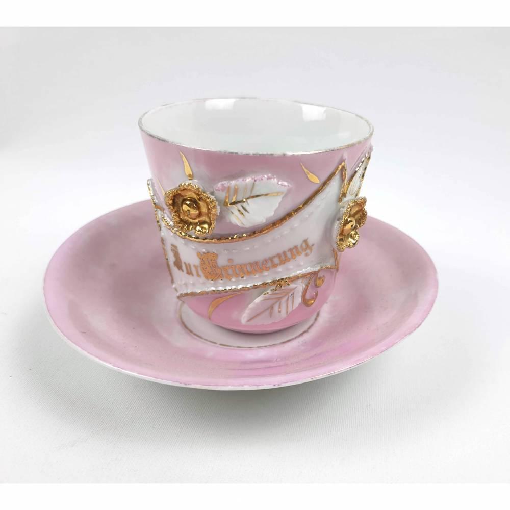 Antike Kaffeetasse mit Aufschrift: Zur Erinnerung, Geschenk Idee zum Jubiläum Bild 1