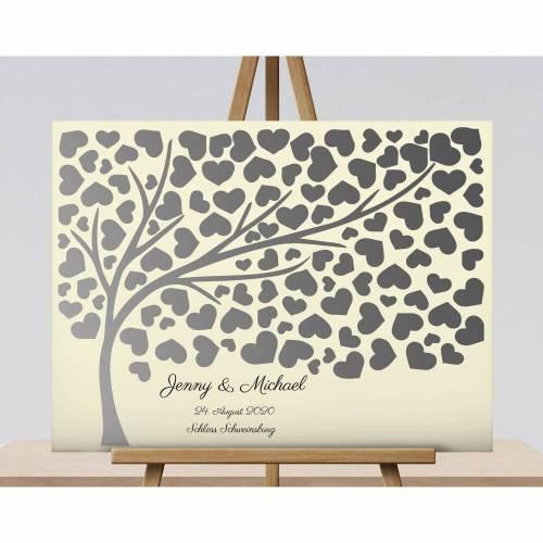 Hochzeitsgeschenk Gästebuch, Hochzeitsbaum Wedding tree Beige
