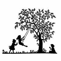 Plottervorlage Baum mit Schaukelmädchen Plotter Schneiden Vorlage Plotterdatei SVG Plotter Bügelvorlage Mädchen kompliziert anspruchsvoll Bild 1