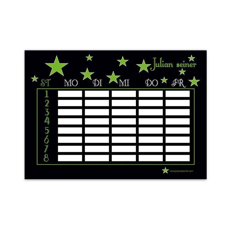 A4 Stundenplan | Sterne schwarz-grün - personalisierbar, optional wiederbeschreibbar Bild 1