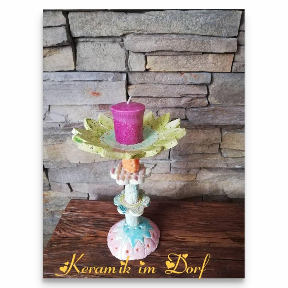Keramik Kerzenständer Unikat bunt 3 Bild 1
