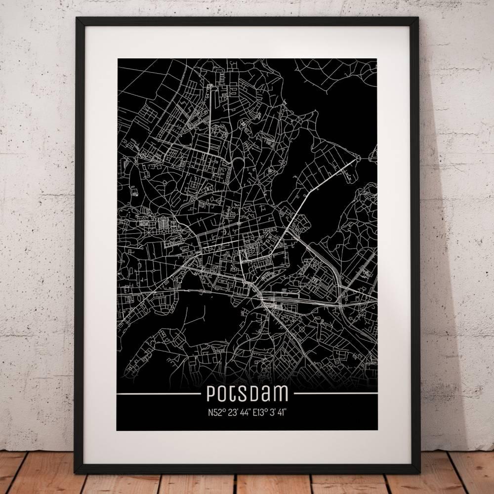 Stadtplan POTSDAM - Just a black Map I Digitaldruck Stadtkarte citymap City Poster Kunstdruck Stadt Karte Bild 1