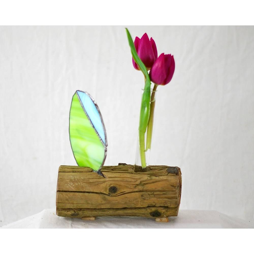 Vase, Wohndeko, Blumenvase, Tischdeko, Ostern, Osterdeko, Tiffanyglas, nachhaltig Bild 1