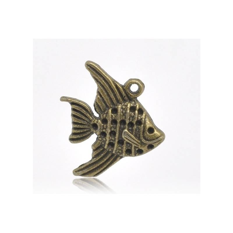 5 Anhänger,  Fisch, Charm, Vintage-Stil, bronze, Schmuckanhänger Bild 1