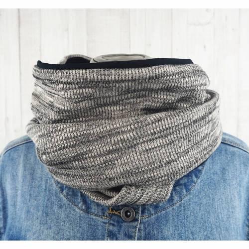 Loop Männer Frauen schwarz meliert, Schal Schlauchschal aus Rippenstrick und Jersey