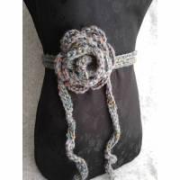 Rosengürtel / Taillenband aus Tweedwolle mit Seide, grau & bunt Bild 1