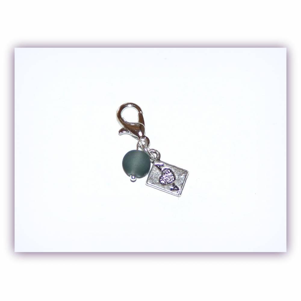Charm Spielkarte Ass mit Glasperle Bild 1
