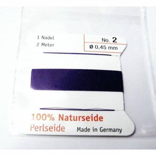 1 Stück Natur Perlseide 0,45 Marine-Blau