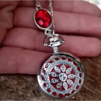 Kettenuhr, Uhr, Damenuhr,  silberfarben,Uhrenkette, Emaille, Farbauswahl, Mandala, Halskette mit Uhr Bild 1
