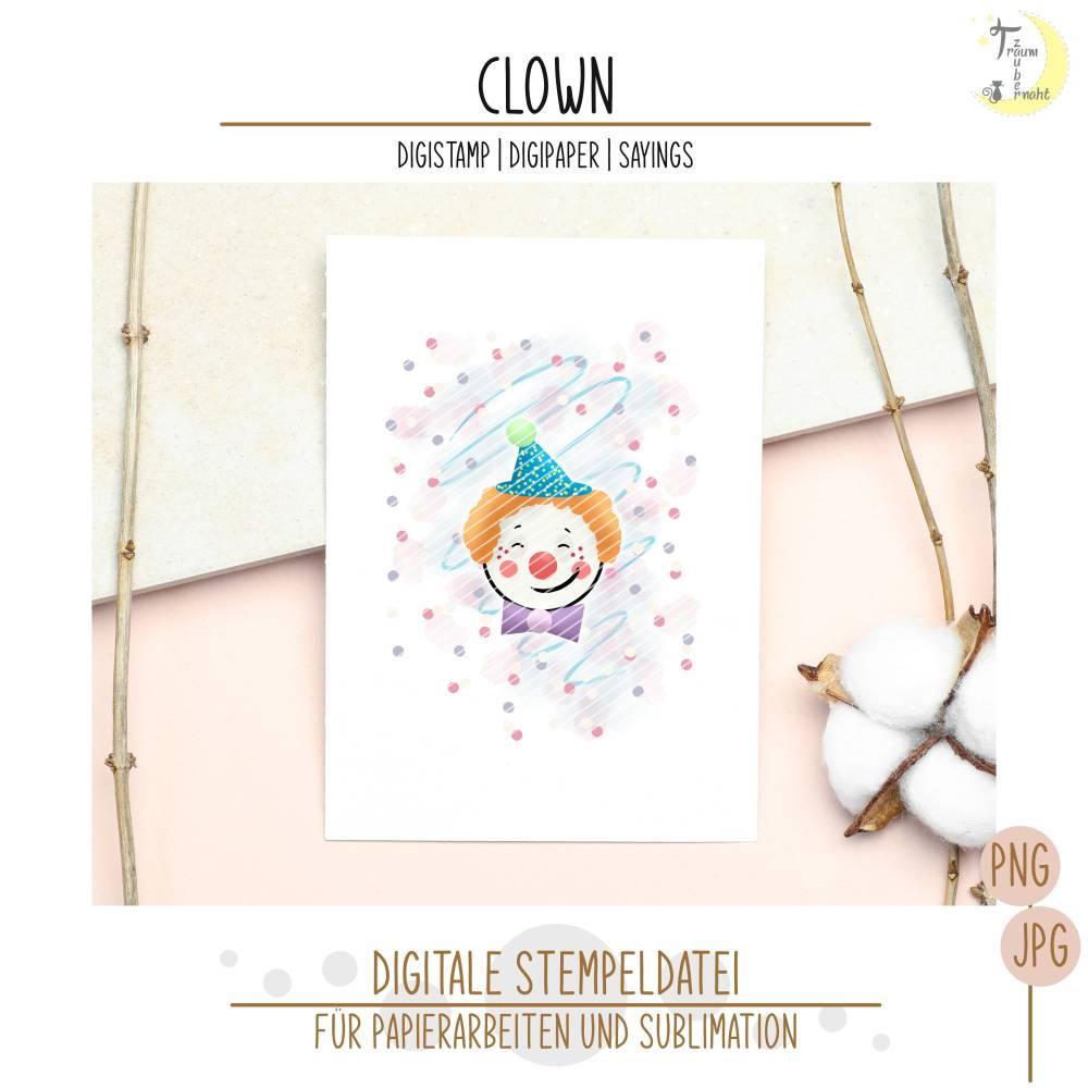 Clown Digistamp mit Digipapieren und Sprüchen Bild 1