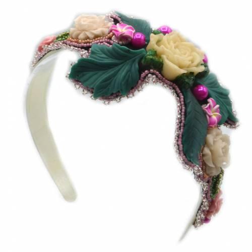 Haarreifen mit Rosen, Perlen und Strass