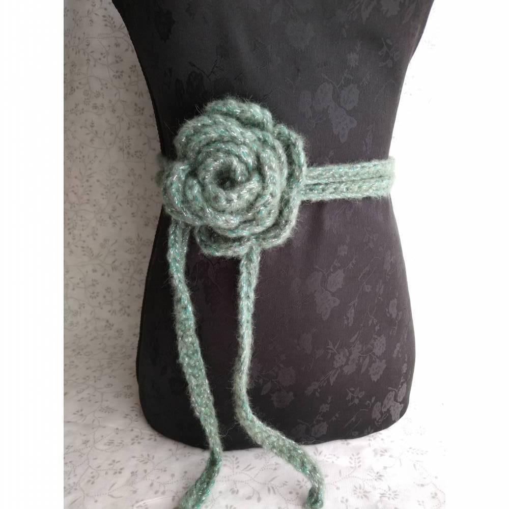 Rosengürtel / Taillenband aus Alpakamischung, grün/glitzer Bild 1