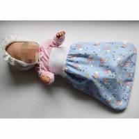 Puppen-Schlafsack Schäfchen,  Puppenfußsack, Schlafsack Frühchen, Fußsack für Babybett, Schlafsack Sternenkinder, Babyschlafsack, Puppen-Strampelsack, Puppenschlafsack, Bild 1