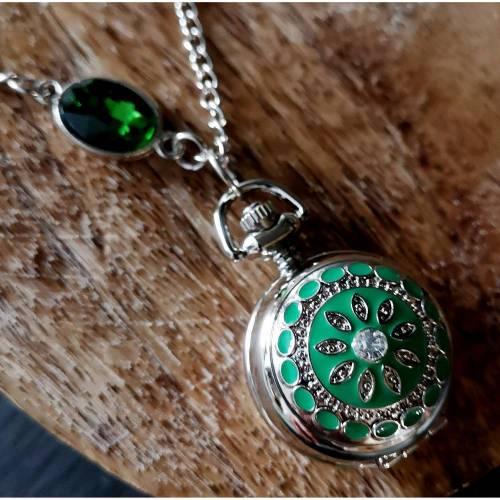 Kettenuhr, Uhr, Damenuhr,  silberfarben,Uhrenkette, Emaille, Farbauswahl, Mandala, Halskette mit Uhr