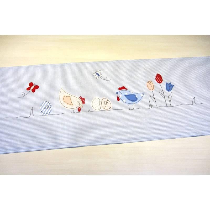 Tischläufer Einzelstück Frühling Deko Ostern Tischdecke Geschenk Muttertag Hühner Schmetterling Blumen Frühling Frühlingsdeko Bild 1