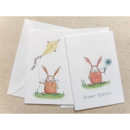 Osterkartenset, 2 Klappkarten DinA 6 mit Umschlag, 2 Motive: kleiner Hase mit gelbem Drachen oder Blume