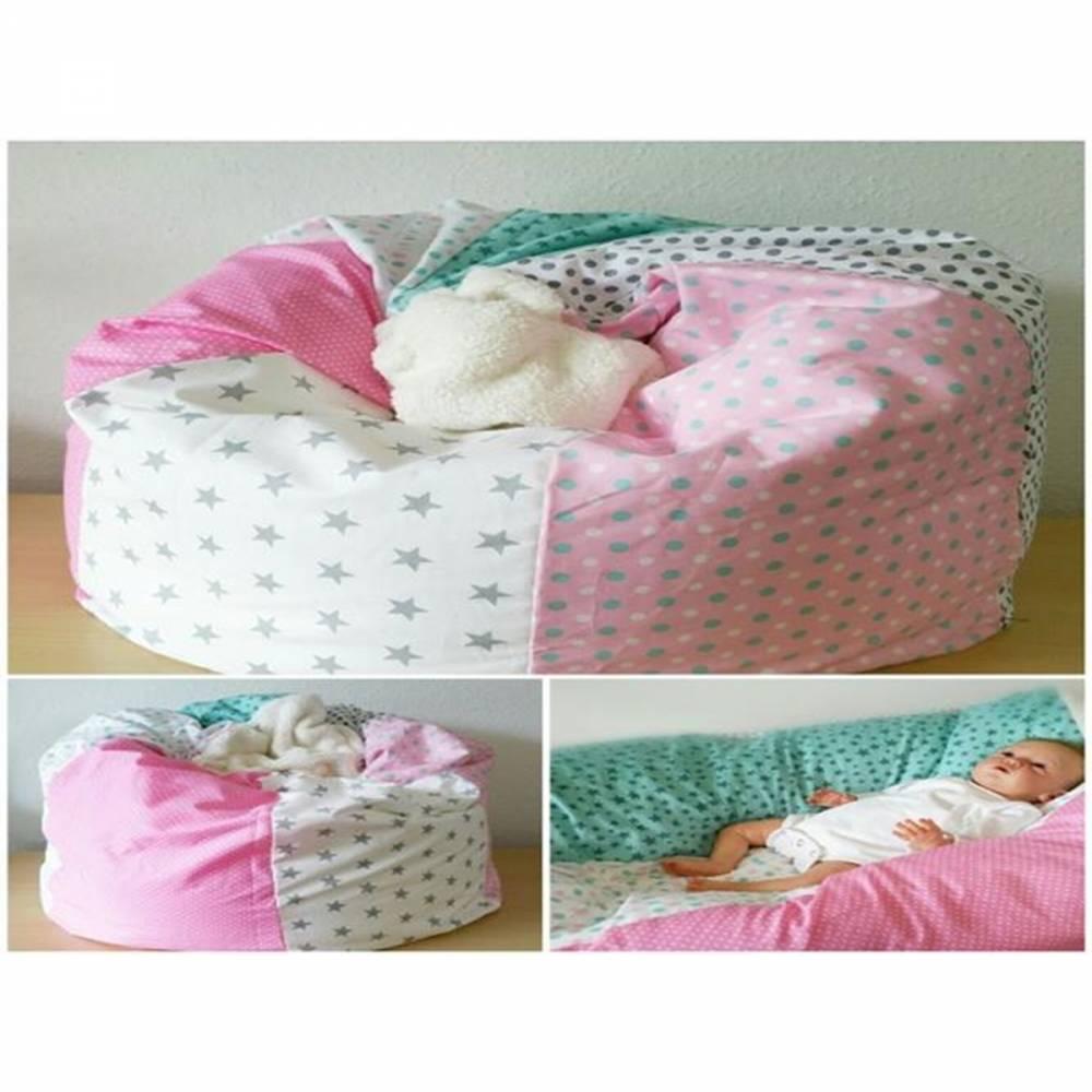 Babykissen rosa, weiße Sterne und Punkte, Kindersitzsack 34 Bild 1