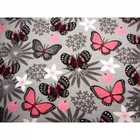 Baumwolljersey Stoff Schmetterlinge grau rosa Mädchen Baby Kind Stoff Kinderstoff Jersey Frühling Öko Tex  Bild 1