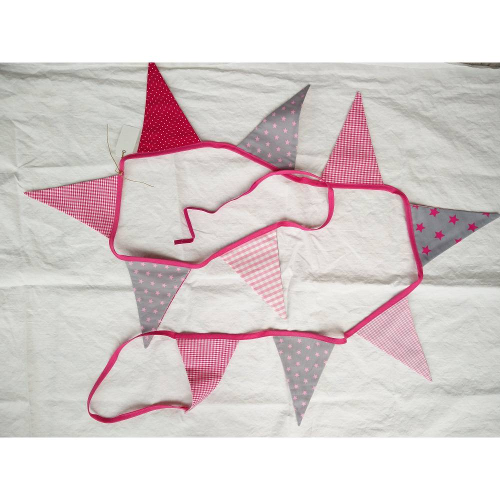 Wimpelkette Stoffgirlande grau rosa Stoffe Bild 1