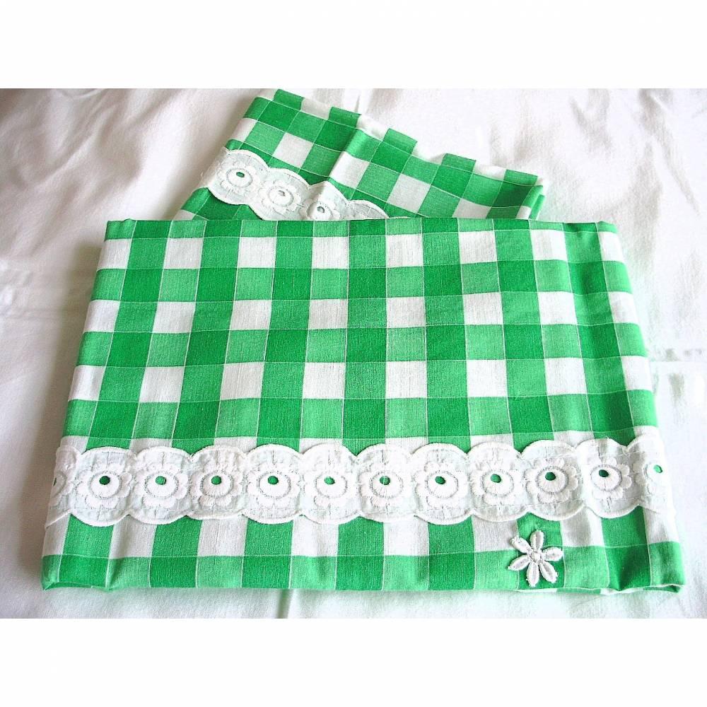 Vintage♥Kinderbettwäsche♥Kinderwagengarnitur in grün-weiß-caro♥aus den 70er Jahren♥  Bild 1