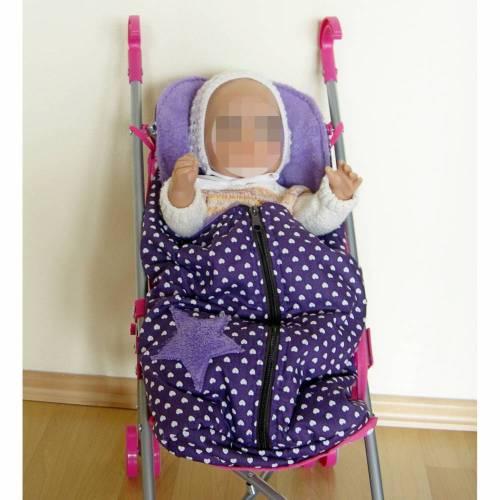 Fuß-Sack für Puppenwagen, Fuß-Sack Puppenwagen, Fußsack Lila Herzen, Fußsack Puppen-Sportwagen, Puppen-Schlafsack, Puppenwagen-Fußsack,  Puppenfußsack