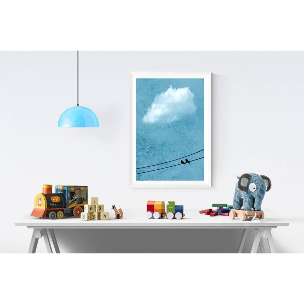 Vogelpaar auf der Stromleitung, weiße Wolke am Himmel, texturiertes Naturbild blau im Vintage-Look, Kinderzimmer-Dekoration, 45 x 30 cm, DIN A4 Bild 1