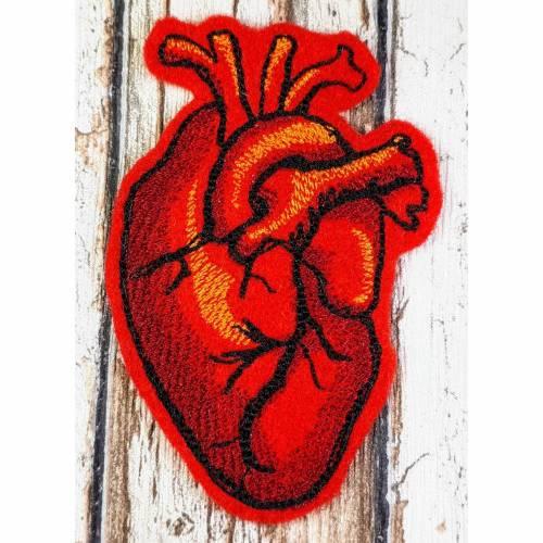 Aufnäher gestickt kleines Anatomisches Herz Applikation