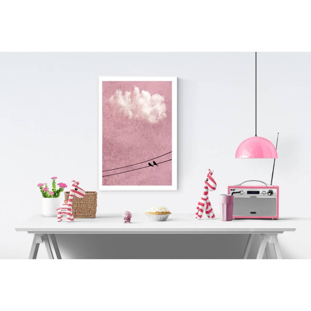 Wandposter für das Kinderzimmer, pink, rosa, altrosa Wolkenbild mit Vögeln, Größen 45 x 30 cm und DIN A4 Bild 1