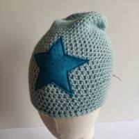 Warme Winter Alpaka Woll Mütze in babyblau mit Stern Bild 1