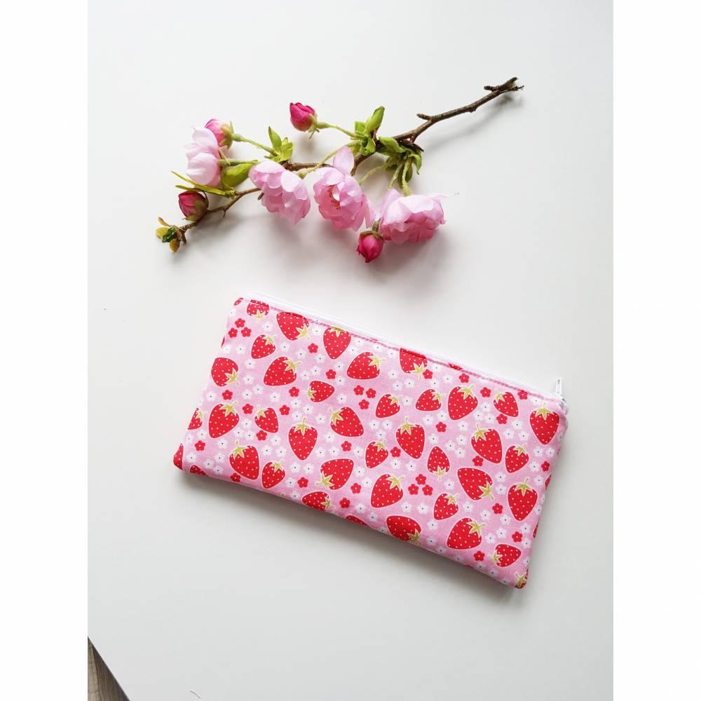 Mäppchen Federmäppchen Tasche Erdbeere rosa Bild 1