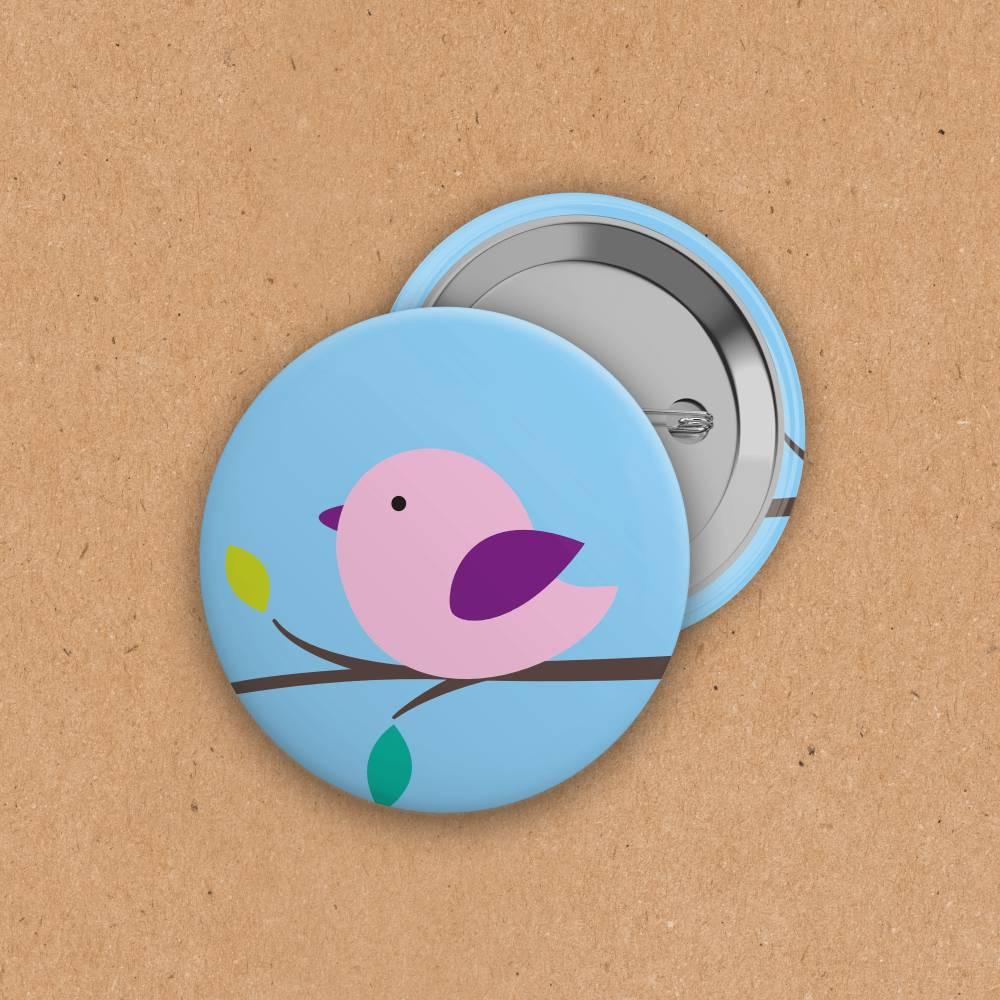 Button - Vögelchen - 38 mm Bild 1