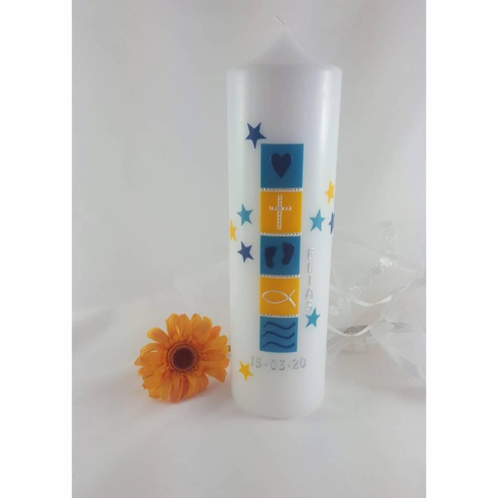 Taufkerze für Jungen,Mädchen, blau, gelb, Sterne, 250 x 70mm Bild 1