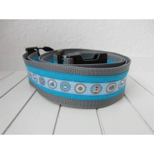 Koffergurt - Kofferband - Bullauge - blau