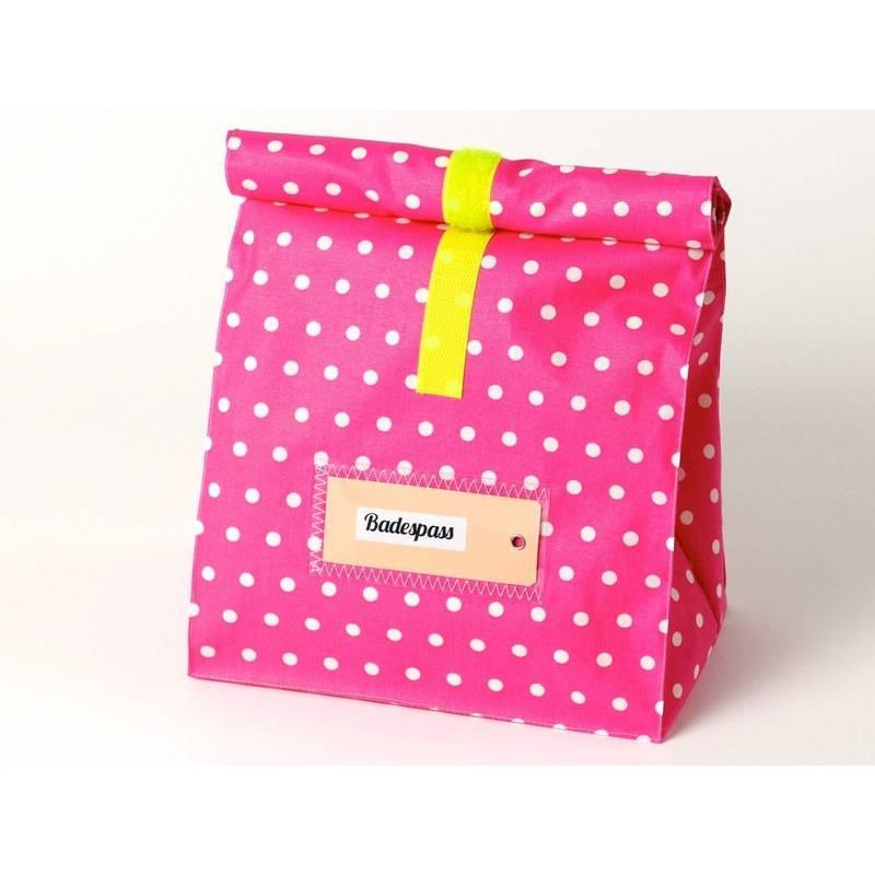 Kulturbeutel, badetasche, lunchbox groß, pink-gelb mit kleinen pünktchen Bild 1