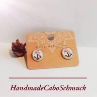 12mm Edelstahl Cabochon Ohrringe, Ohrstecker, Ohrhänger Anker, Blumen, beige rosa Bild 1