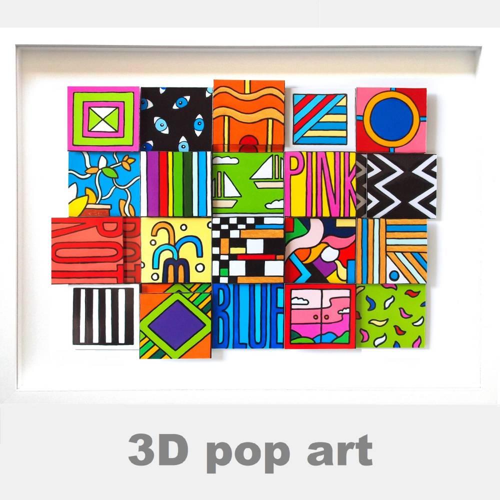 3D popart wand bild bunt color blocking kunst dreidimensional fineart limited edition Bild 1