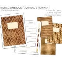 Digitales Notizbuch für Goodnotes, 6 Register, 4 Cover, passende Sticker Bild 1