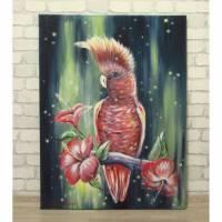KAKADU MIT TROPISCHEN BLÜTEN 60cm x 80cm - abstraktes Acrylgemälde mit einem Kakadu und Hibiskusblüten Bild 1