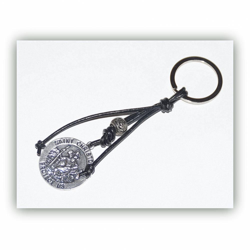 Schlüsselanhänger Christophorus und Lederband Bild 1