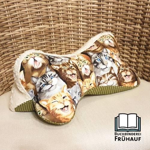 Leseknochen für Katzenliebhaber Lesekissen Nackenkissen mit Kuschelseite Kissen mit Katzen