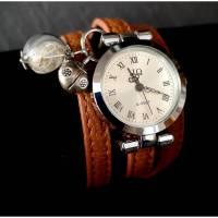 Armbanduhr,Wickeluhr, Damenuhr, Kunstleder, silber, verziert, Quarzuhr, Uhr, Wickelarmband, Schnallenverschluss, römische Zahlen, wish, Bild 1