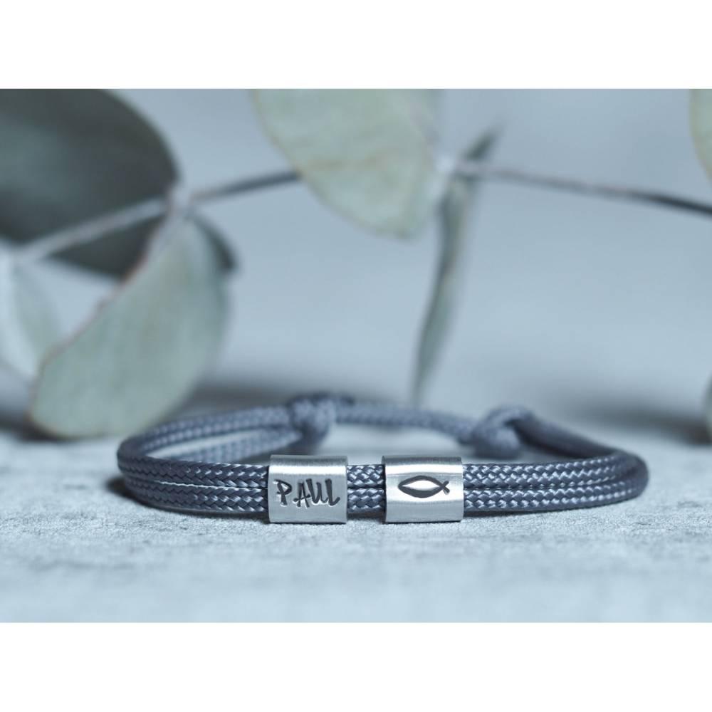 Armband personalisiert mit Gravur handgestempelt zur Taufe, Kommunion, Geburtstag, Schulanfang, Konfirmation Bild 1