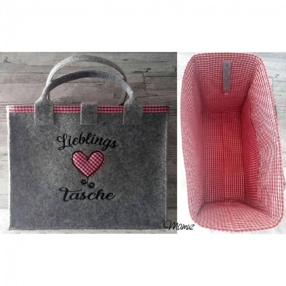 """Umhängetasche / Shopper / Einkaufstasche, Tasche aus Rips-Nadelfilz mit Innenfutter + Stickmotiv  """" Lieblings Tasche mit Herz """" Bild 1"""
