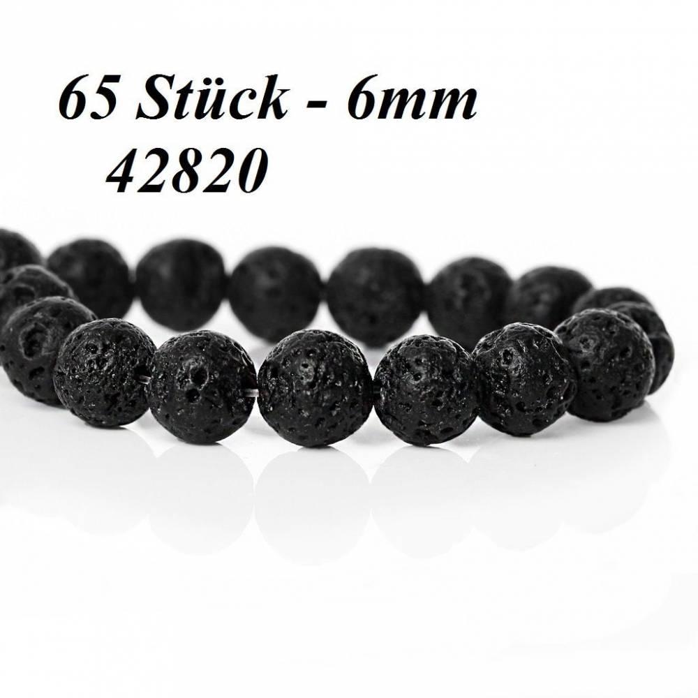 50 / 65 Lavaperlen, Perlen, Schmuckperlen,schwarz, 6mm, 8mm Bild 1