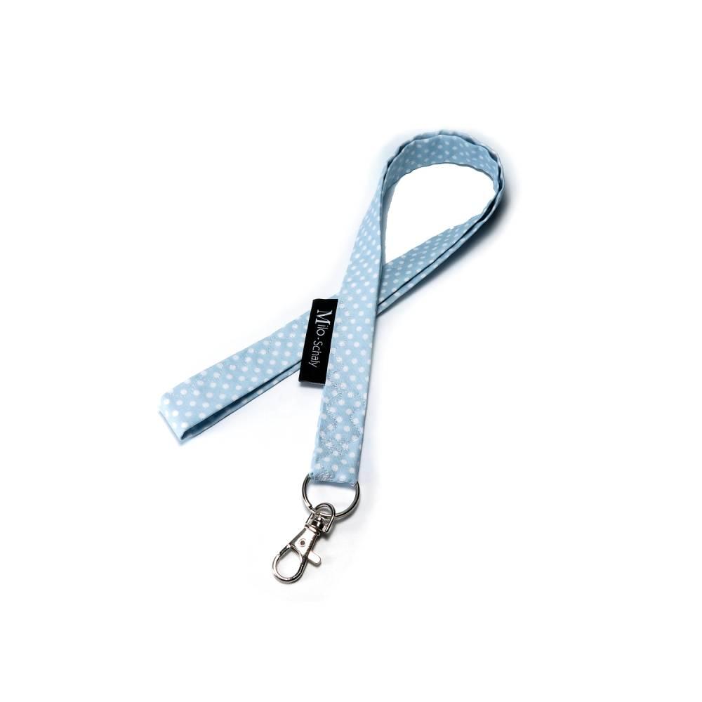 Schlüsselband lang mit Karabiner Stoff Schlüsselanhänger Punkte hellblau weiß Bild 1