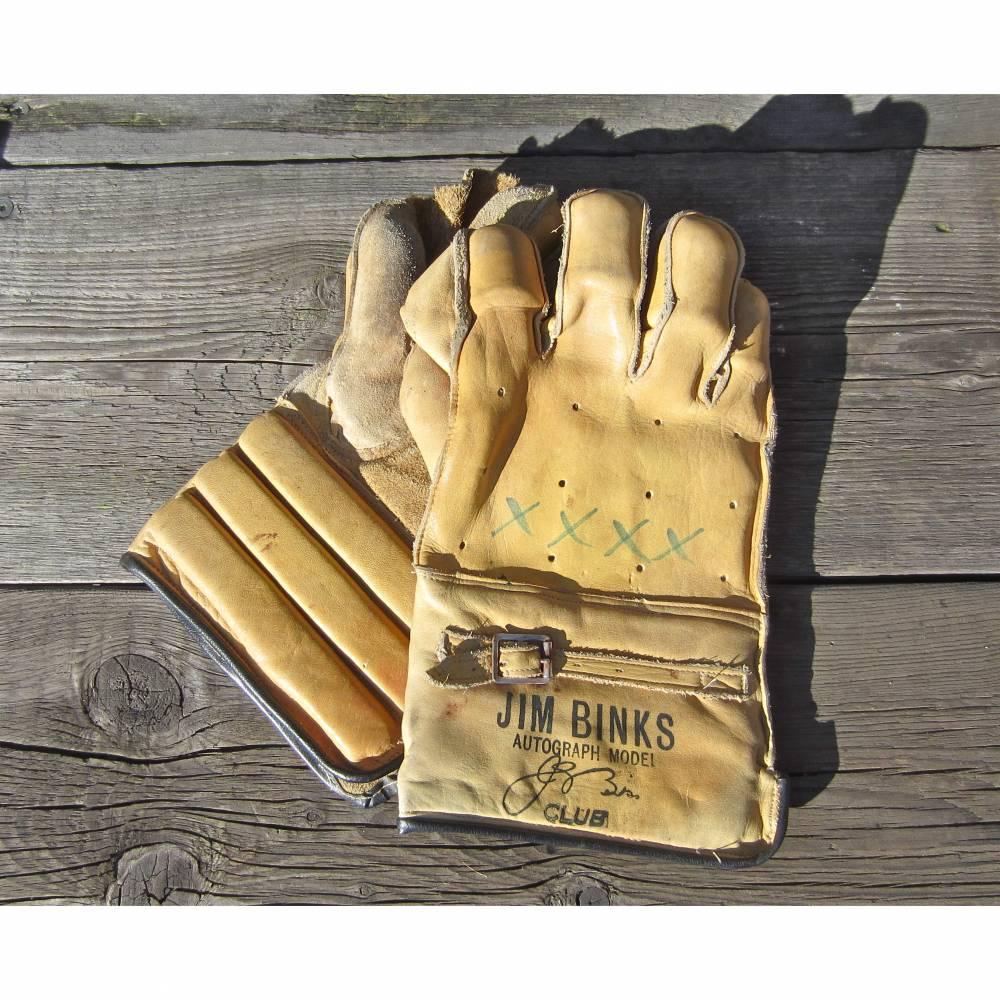 Vintage Cricket Handschuhe Jim Binks 60er Jahre Bild 1