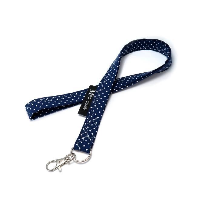 Schlüsselband lang mit Karabiner Stoff Schlüsselanhänger Punkte blau weiß Bild 1